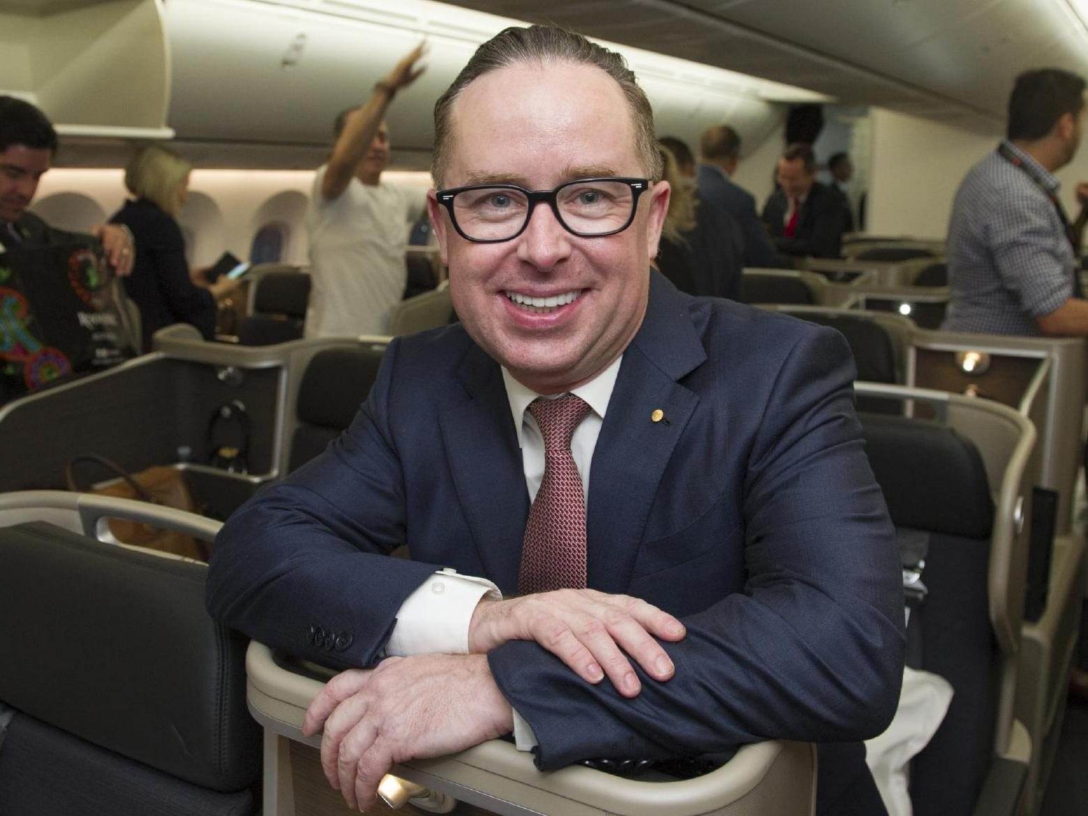 Qantas boss Alan Joyce on the first flight. Credit: Sunday Times